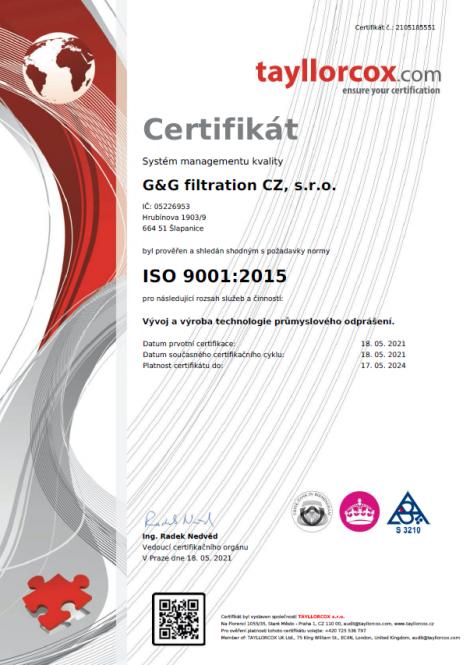 ISO 9001: 2015 Razvoj i proizvodnja tehnologije industrijskog otprašivanja.